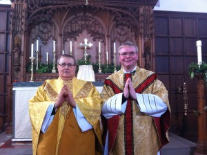 Father Keith and Father Adam at St Leonard's Christmas Day 2013