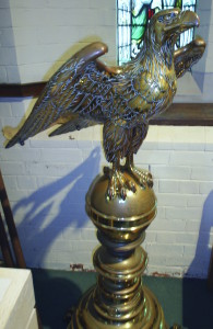 The Eagle Lectern at St Barnabas' Parish Church before restoration.