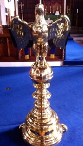 The New Brass Eagle Lectern at St Leonard's Loftus.