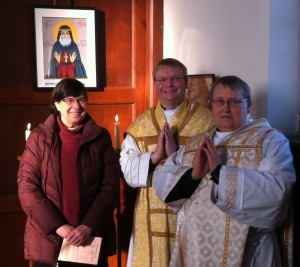 The new icon with Cllr Elisabeth Westhead, the Rector and Father Keith
