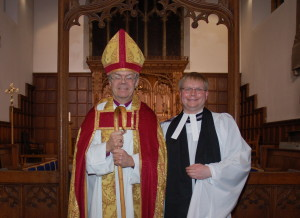 Father Adam with the Bishop of Hull after the Institution Service at St Leonard's Loftus 12th March 2009