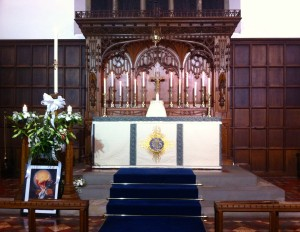 The High Altar and Easter Candle at St Leonard's Loftus