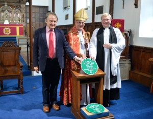 Prof Hugh Torrens, The Bishop of Whitby and The Rector with the Lewis Hunton Plaques