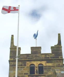 The Flag of the Diocese of York flies from the newly rethreaded flagpole